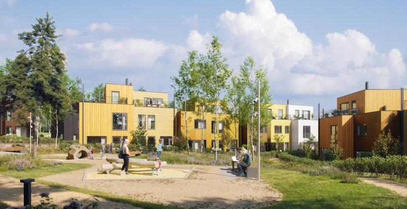 Dyst, et fint sted å vokse opp. Her skapes et helt nytt nabolag med flotte fellesarealer og lekeplasser. Illustrajon.