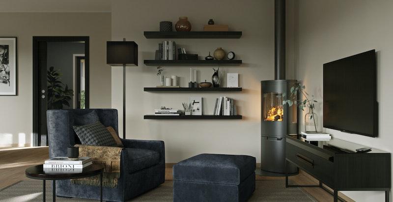 Detalj stue i konseptet Tidløs. Illustrasjon.