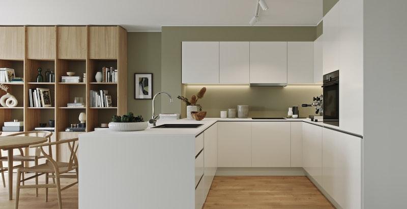 Kjøkken i konseptet Tidløs. Enstavs eikeparkett og flott kjøkken fra HTH. Illustrasjon.