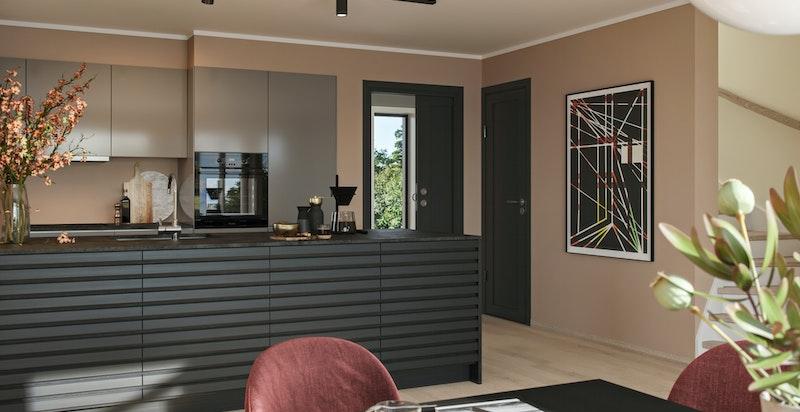 Moderne: Typisk for denne stilen er kontraster. Vi har valgt en nedtonet rosatone på veggen i stuen som gir en wow-faktor mot de sorte detaljene. Veggfarger: 12120 Desert pink, 1877 Valmuefrø og 1453 Bomull.