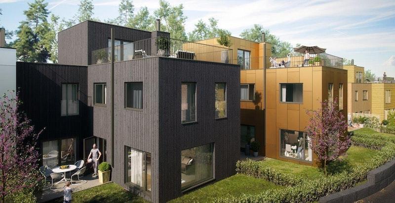 Fasade, husrekke E. Illustrasjon.