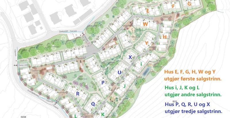 Dyst - utomhusplan første reguleringsfelt. Husrekke D, O og V (14 boliger) utgjør salgstrinn 4.