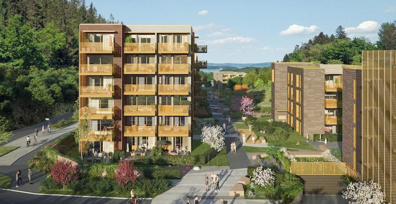 Uteanlegget planlegges med høy kvalitet, helhetlige løsninger for hele området, med fokus på bærekraftige miljø- og materialløsninger - Bildet er ment som en illustrasjon og avvik kan forekomme