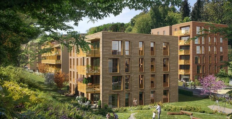 For å skape liv og variasjon, er byggene i varierende størrelser og høyder fra 4 til 6 etasjer - Bildet er ment som en illustrasjon og avvik kan forekomme