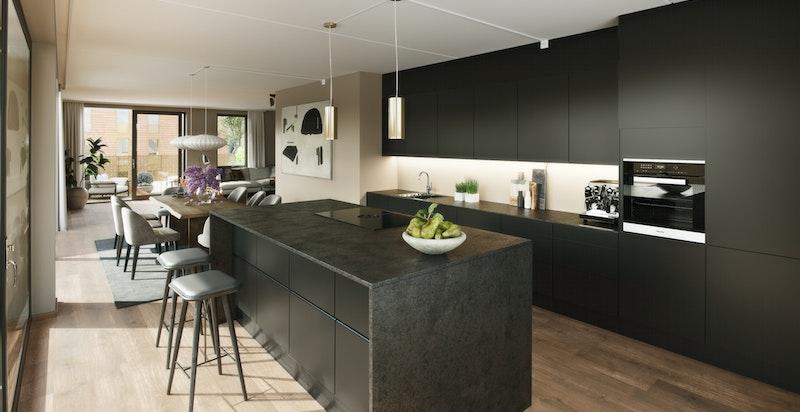 Kjøkken vist med tilvalg farge, modell,benkeplate, hvitevarer, vask - Kun ment som illustrasjon. Avvik vil forekomme.