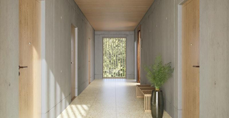 Felles korridor i Hus 3 - Kun ment som illustrasjon. Avvik vil forekomme.