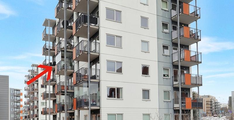 Moderne leilighetsbygg over 7 etasjer med garasjekjeller