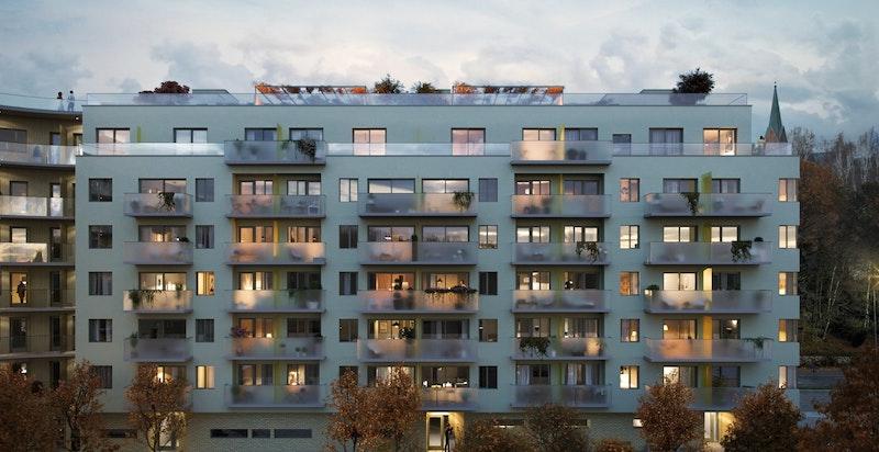 Moderne arkitektur og private balkonger og/eller takterrasser til alle leiligheter