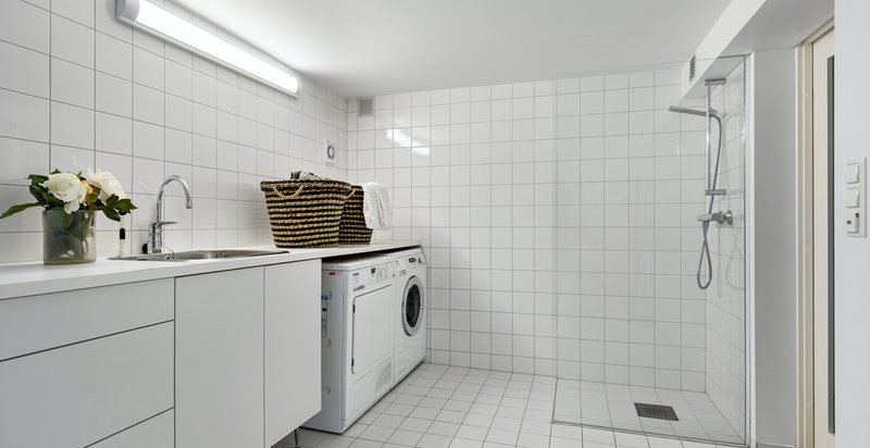 Praktisk vaskerom i underetasjen