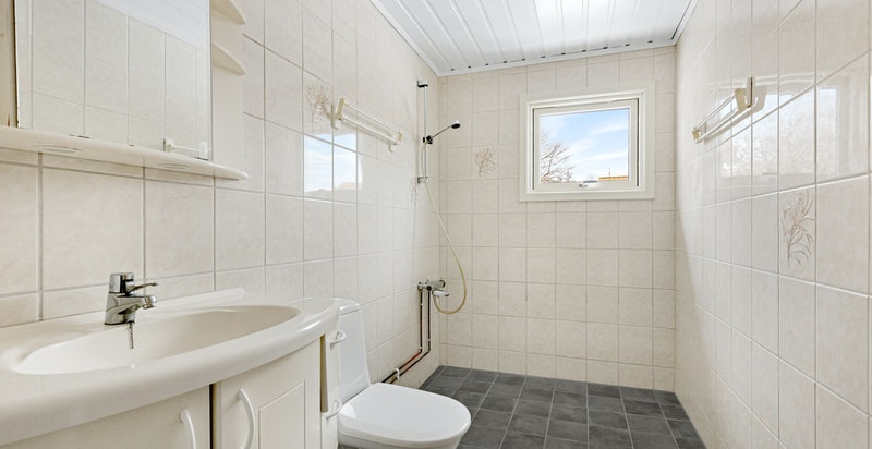 Badet er utstyrt med diverse baderomsinnredning, speilskap, toalett og dusj.