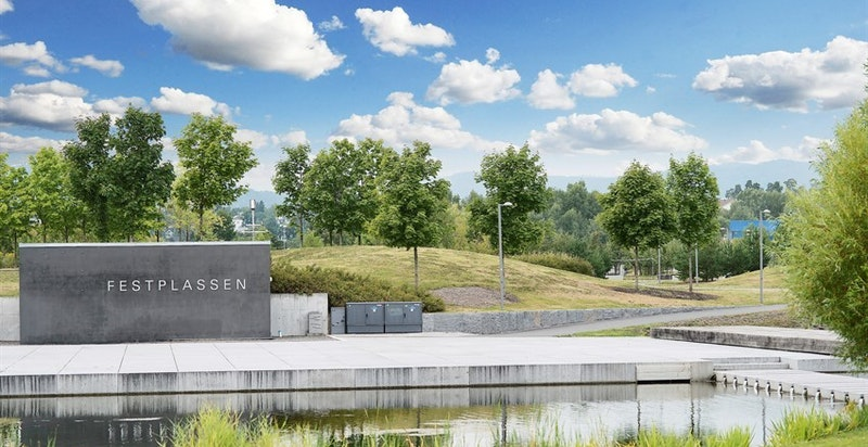 Fornebu-området tilbyr Nansenparken med store grøntarealer og turmuligheter