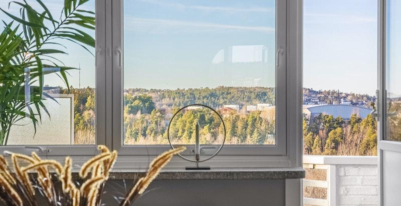 Utsikten kan også nytes fra stuen.