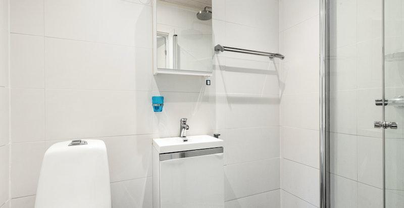 Badet er utstyrt med baderomsinnredning, servant, speilskap, toalett og dusjhjørne.