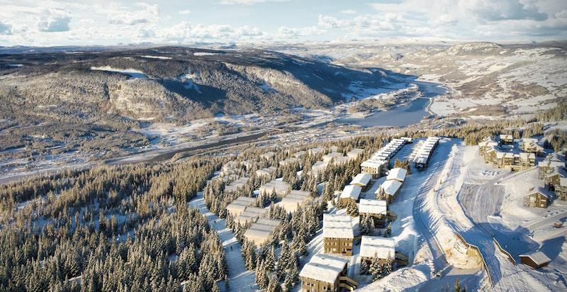 Illustrasjon. Kringelåsgrenda ses nærmest. Tegnet av arkitektkontoret Einar Jarmund & Co.