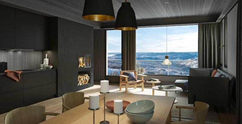 Illustrasjon stue og kjøkken, type 91 kvm.