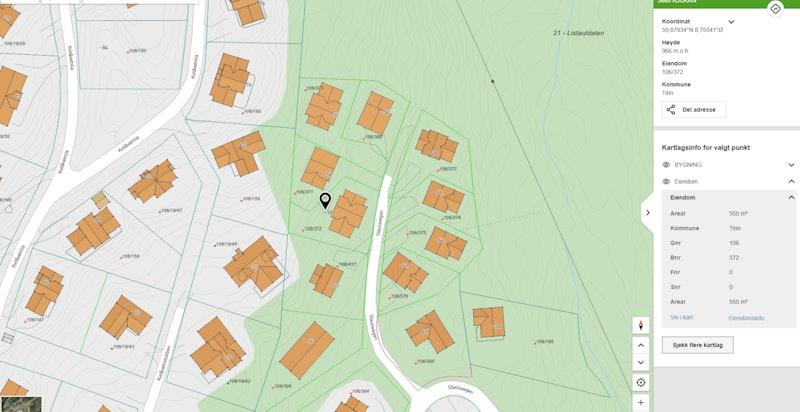 Staulsvegen 58 zoomet inn på kommunekart.com