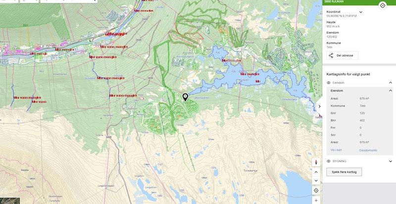 Løkjestaulkilsvegen 35 zoomet ut på kommunekart.com