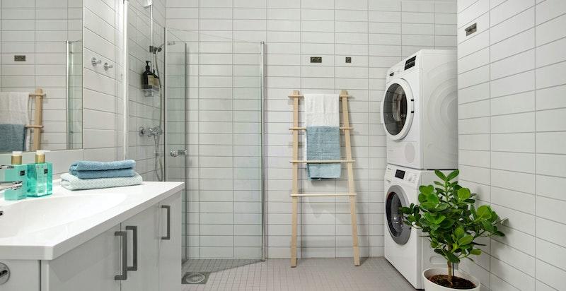 Bad/wc med opplegg for vaskemaskin og tørketrommel