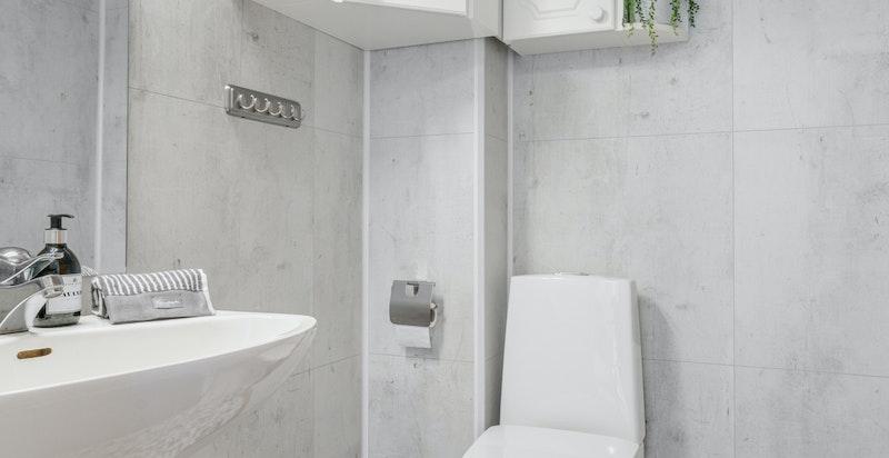 Hovedetasjen har et gjeste-wc ved inngangspartiet.