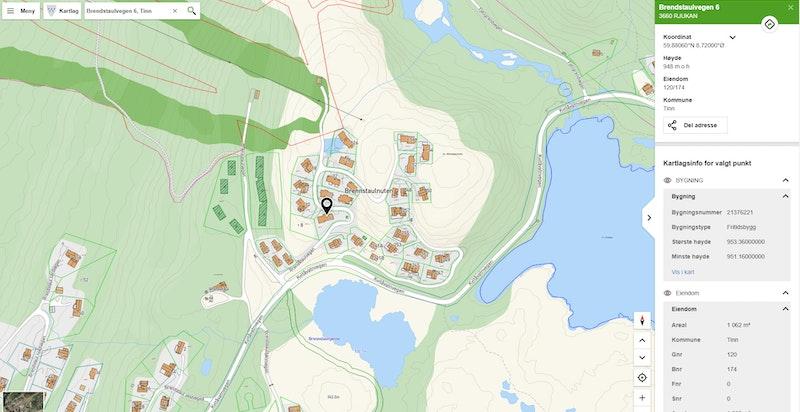 Brendstaulvegen 6 zoomet inn på kommunekart.com
