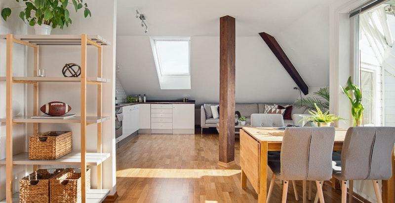 Spiseplass i stue/kjøkken
