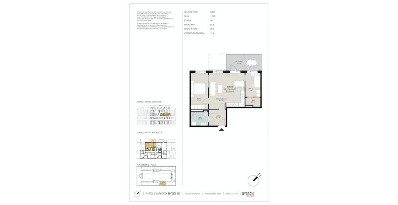 Plantegning av 4. etasje: Entré, stue/kjøkken, bad og 2 soverom.