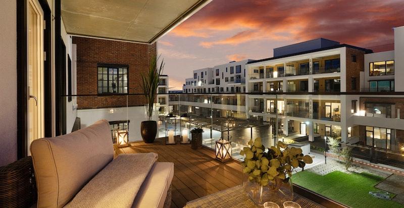 Kveldsbilde av terrasse