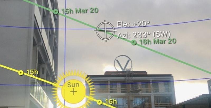 Illustrasjon av solbanen - bilde tatt fra terrassen.