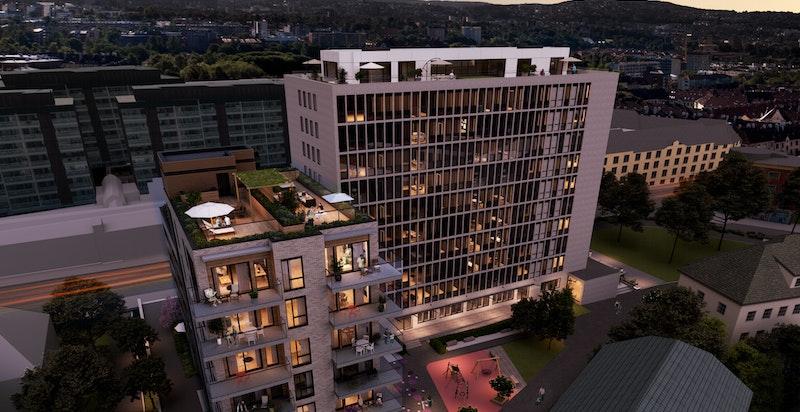 Nå lanseres Vestblokka på Torshovhøyden. Vestblokka er bygningen foran til venstre i illustrasjonen