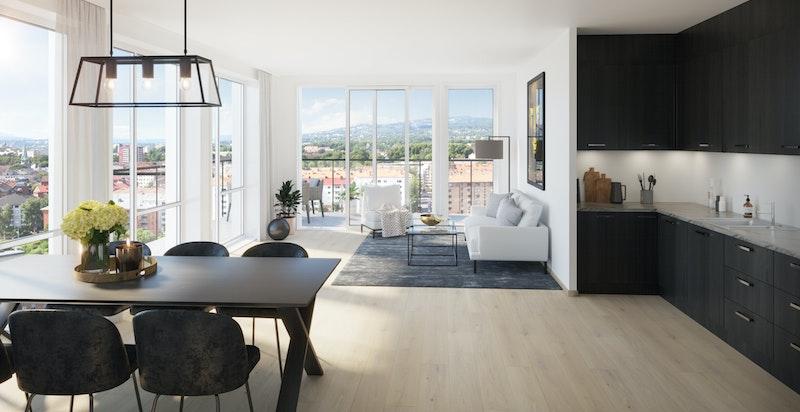 Illustrasjonsbilde av stue og kjøkken i leilighetstype på 97,5 kvm, eks. A2-801. Legg merke til vindusflatene.