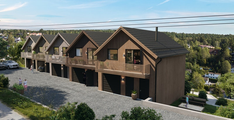 Samtlige hus har egen, integrert garasje i boligen og solrike balkonger.