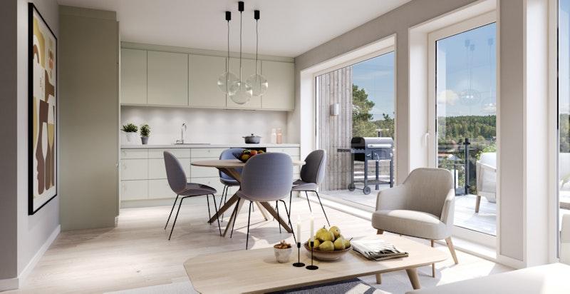 Pent kjøkken med store vindusflater og utgang til stor terrasse med flott utsikt over nærområdet.