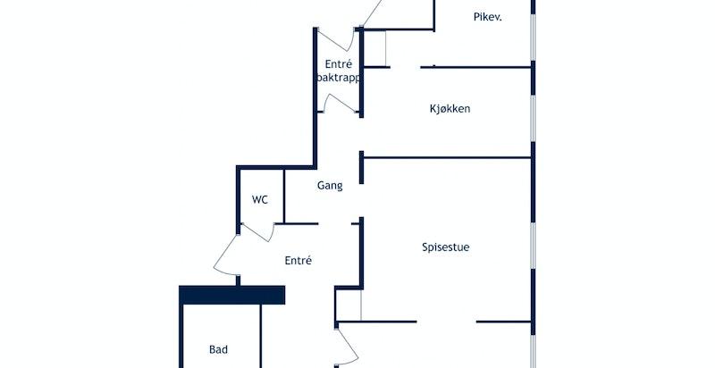 Planskisse. Enkel adkomst til bod/p-plass via baktrapp