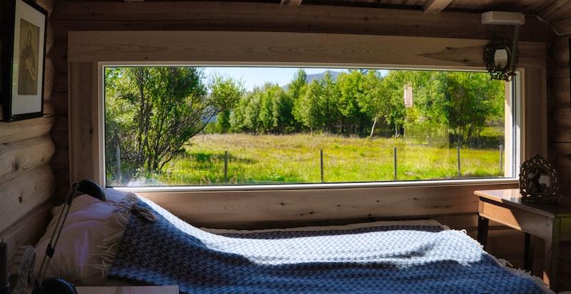 Anneks med stort vindu som inviterer naturen inn