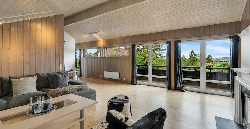 Stor, lys stue med peis og utgang til veranda