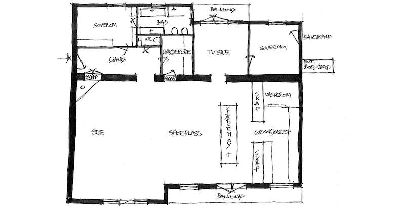 Plantegning tegnet av selger. EVT Bod/Bad ved baktrapp er et areal det er mulighet til å kjøpe av sameiet og innlemme i leiligheten