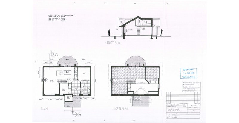 Plantegning - loftsetasje er delt inn med 2 sov og loftstue