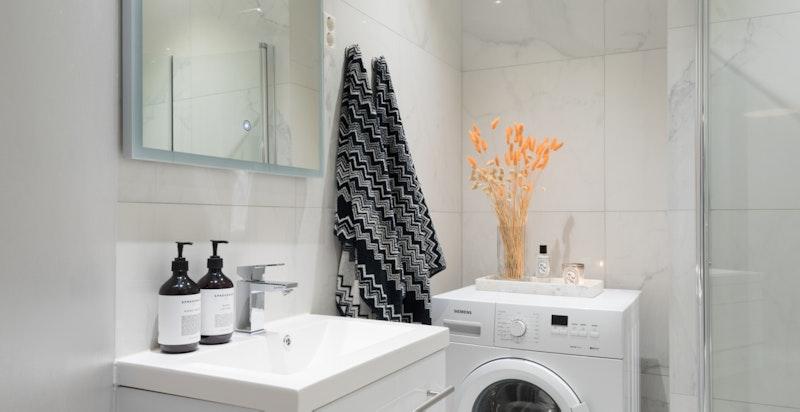 Opplegg for vaskemaskin og varme i gulv.