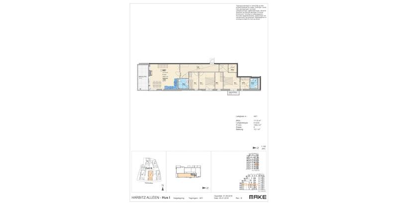 Plantegning 4. etg: Entré/hall, stue/kjøkken, to bad, 3 soverom og walk-in closet.