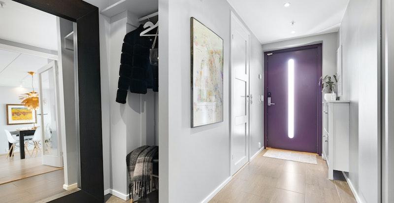 Inngangsparti med garderobe,  bod og inngang til praktisk dusjbad /wc