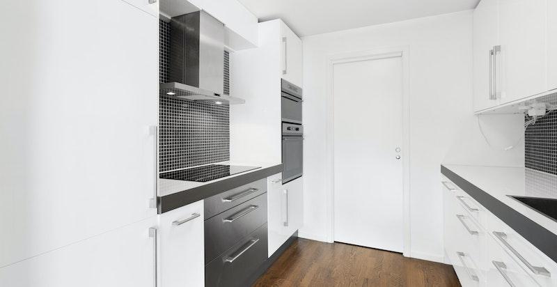 Innenfor kjøkkenet er det et kontor