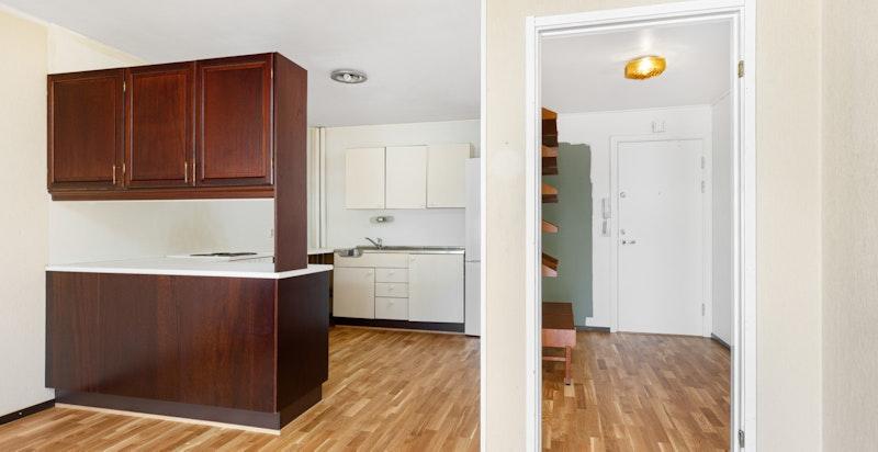 Stort kjøkken med god benke- og skapplass.