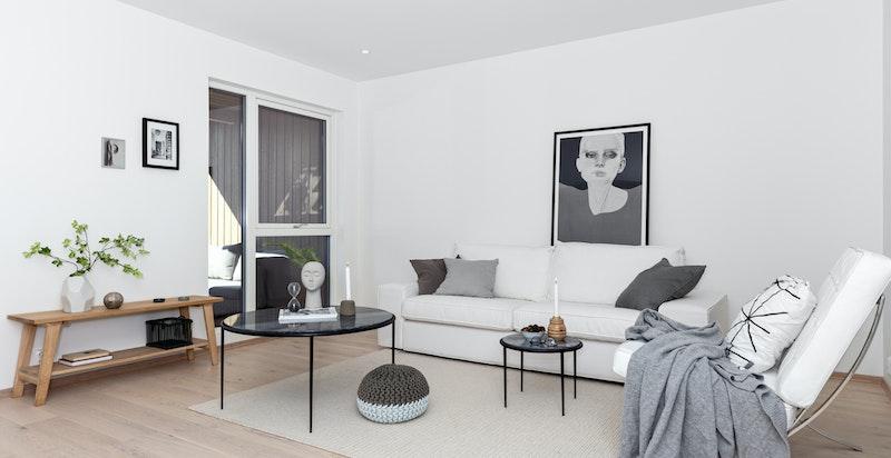 -Stor stue med mye lys og gode møbleringsmuligheter-