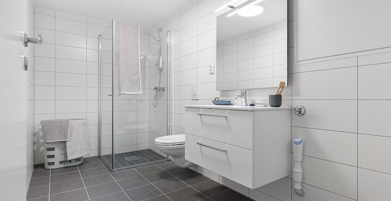 Bilder er tatt i leilighet 7.3  men viser tilsvarende leveransestandard for rekkehusene - Bad (avvik kan forekomme, se leveransebeskrivelse)