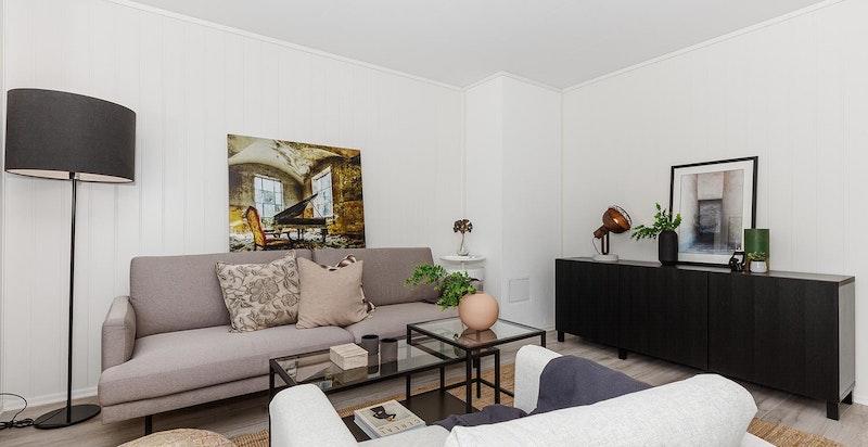 Bilder er tatt i leilighet 7.3  men viser tilsvarende leveransestandard for rekkehusene - Stue (avvik kan forekomme, se leveransebeskrivelse)
