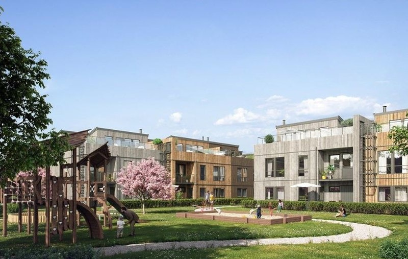 """Fasade - flott bolig av den store typen """"town-house"""""""