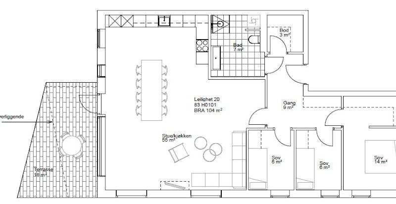 Planskisse leilighet nr. 20 i bygg C