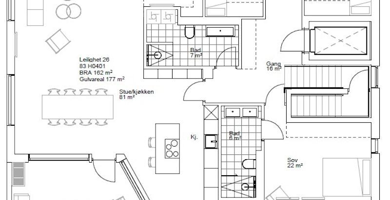 Planskisse leilighet 26 - Bygg C