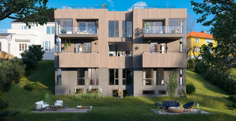 Illustrasjon - Moderne og smakfulle boliger med takterrasse
