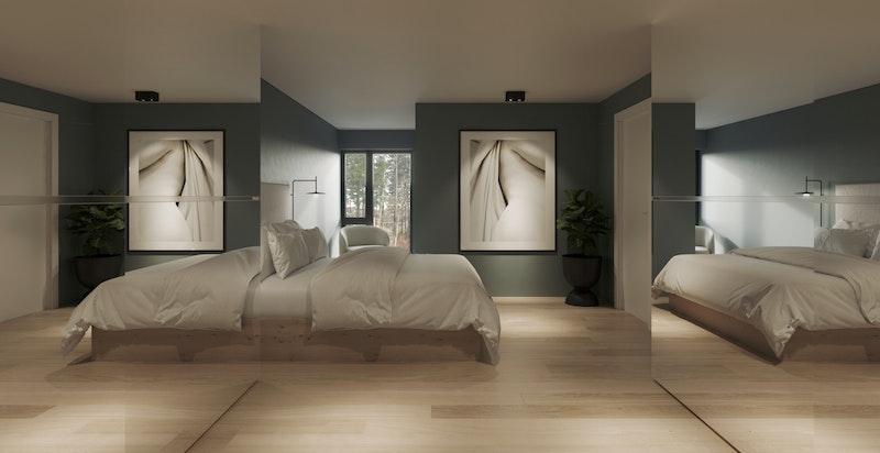 Illustrasjon - Soverom med god plass til garderobe